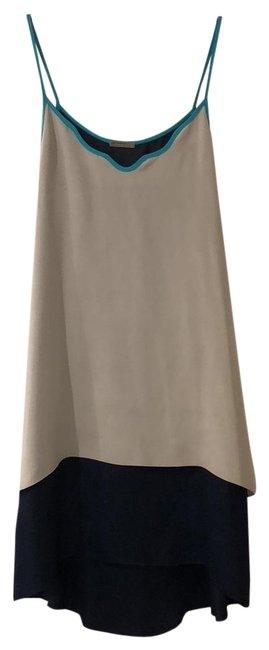 Loeffler Randall  Gray Navy Teal Tricolor Slipdress Short Casual Dress