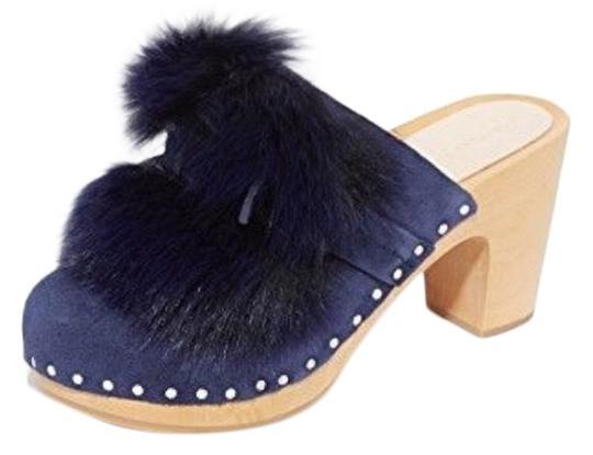 Loeffler Randall  Navy Blue Fox Pom-Pom Suede Mules/Slides