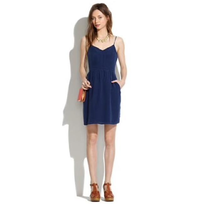 Madewell  Navy Silk Cami Short Casual Dress