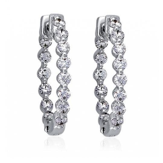 Madina Jewelry  White 2.00 Ct Ladies Round Cut Diamond Hoop Huggie Earrings