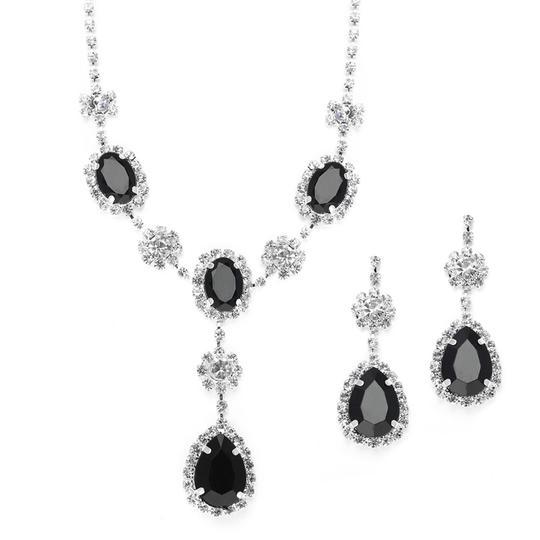 Mariell  Black Rhinestone Prom Bridesmaid Neck Set With Teardrops 3803s-Je Necklace