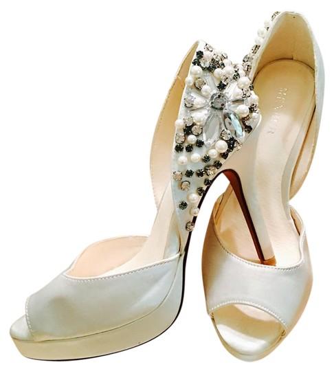 Menbur  Satin White Dressy/ Bridal Crystal Bead Peep Toe Pumps Platforms