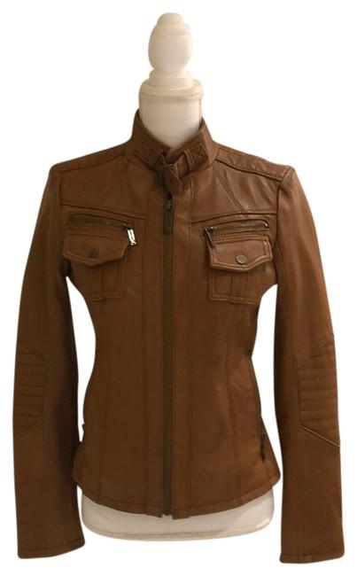 Michael Kors  Camel Motorcycle Genuine Leather Jacket Cocktail Dress