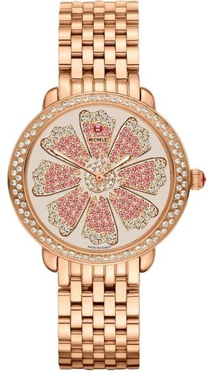 Michele  Rose Gold Serein 16 Stainless Steel Pink Flower Diamond Mww21b000090 Watch