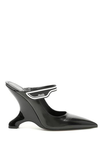 Prada  Black Brushed Calfskin Mules/Slides