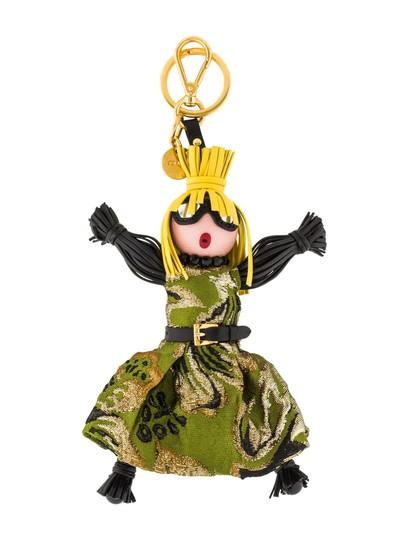 Prada  Green Trick Pelle Felce Dress Jasmine Doll Keyring 1tl171