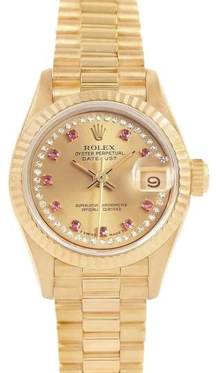 Rolex  Champagne President Yellow Gold String Diamond Rubies Ladies 69158 Watch
