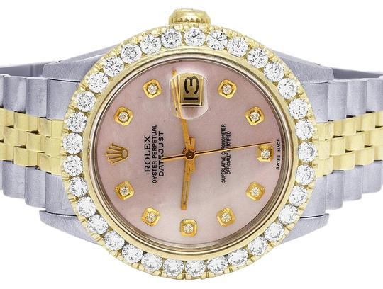 Rolex  Ladies Two Tone Datejust 68273 Midsize 18k/ Steel 31mm Pink Mop Dial Diamond 3.5 Ct Watch