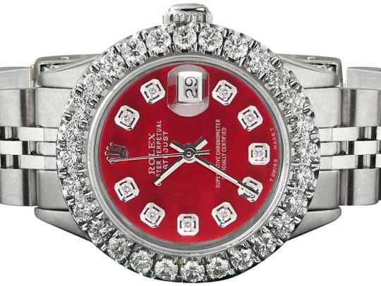 Rolex  Steel Candy Datejust 26mm Jubilee 2ct Diamond Bezel / Red Mop Dial Watch