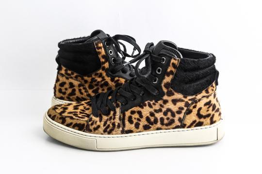Saint Laurent  Black Leopard Calf Hair Malibu High Top Sneakers Shoes