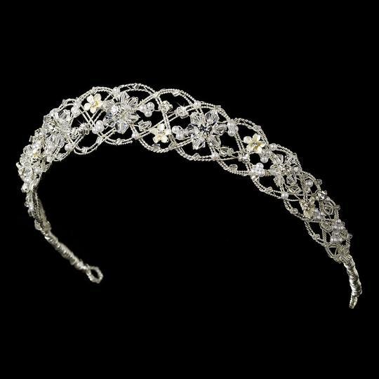 Silver Flower Woven Headband Tiara