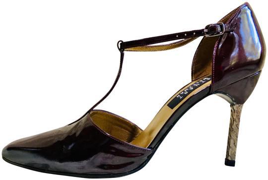 Stuart Weitzman  Purple Patent Leather Strappy Pump Formal Shoes