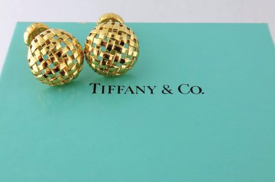Tiffany & Co.  18k Yellow Gold Estate Vannerie Cufflinks/Studs