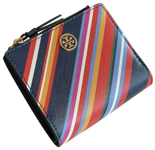 Tory Burch  Multicolor Emerson Saffiano Leather Mini Vivid Stripe Wallet