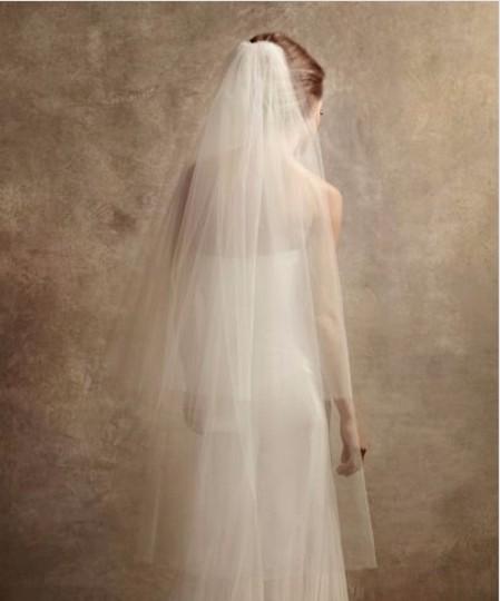 Vera Wang  Blush Medium Two-Tiered Raw Edge In Bridal Veil